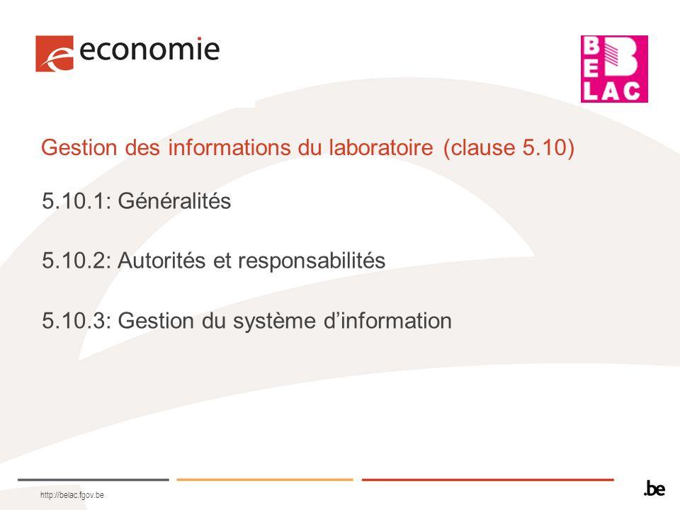 Gestion des informations du laboratoire (clause 5.10)