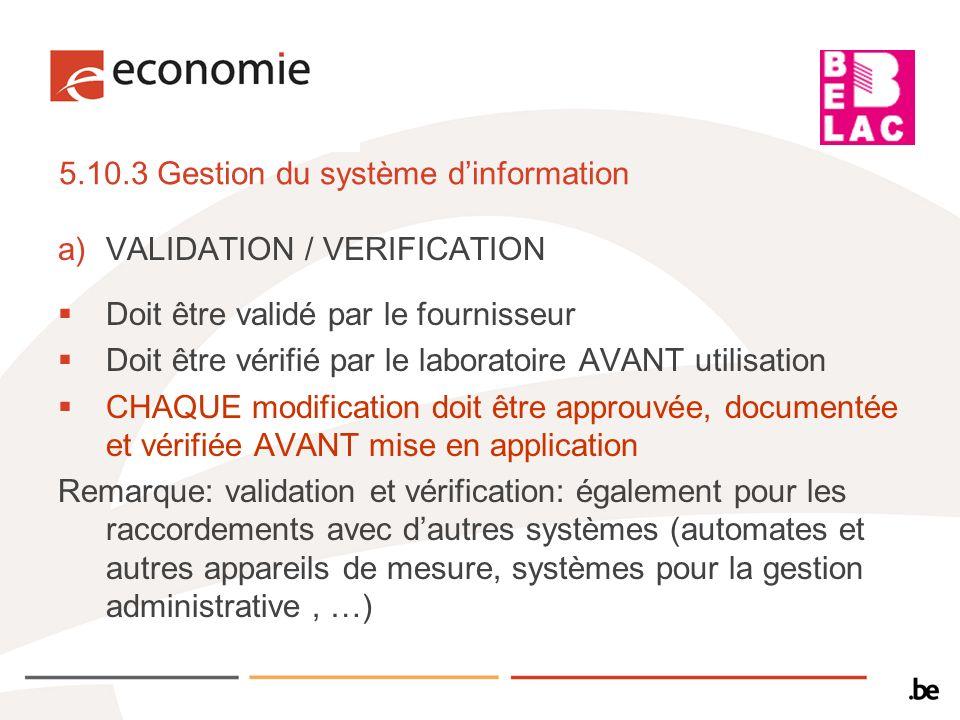 5.10.3 Gestion du système d'information