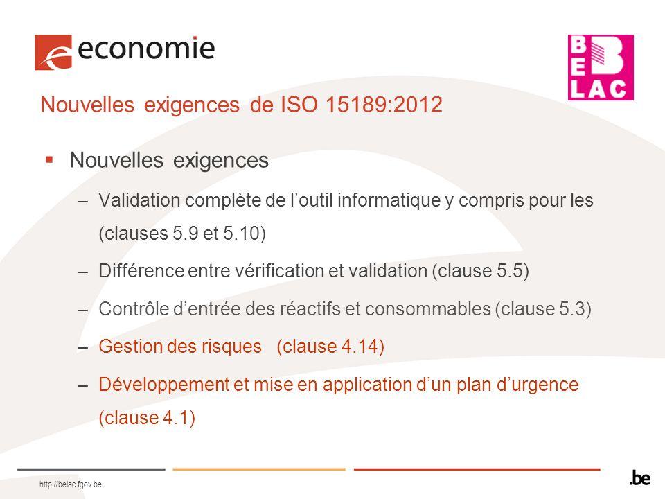 Nouvelles exigences de ISO 15189:2012
