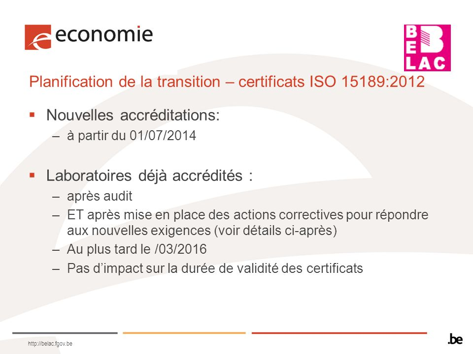 Planification de la transition – certificats ISO 15189:2012