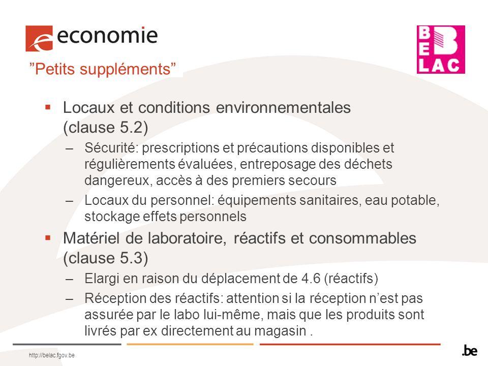 Locaux et conditions environnementales (clause 5.2)