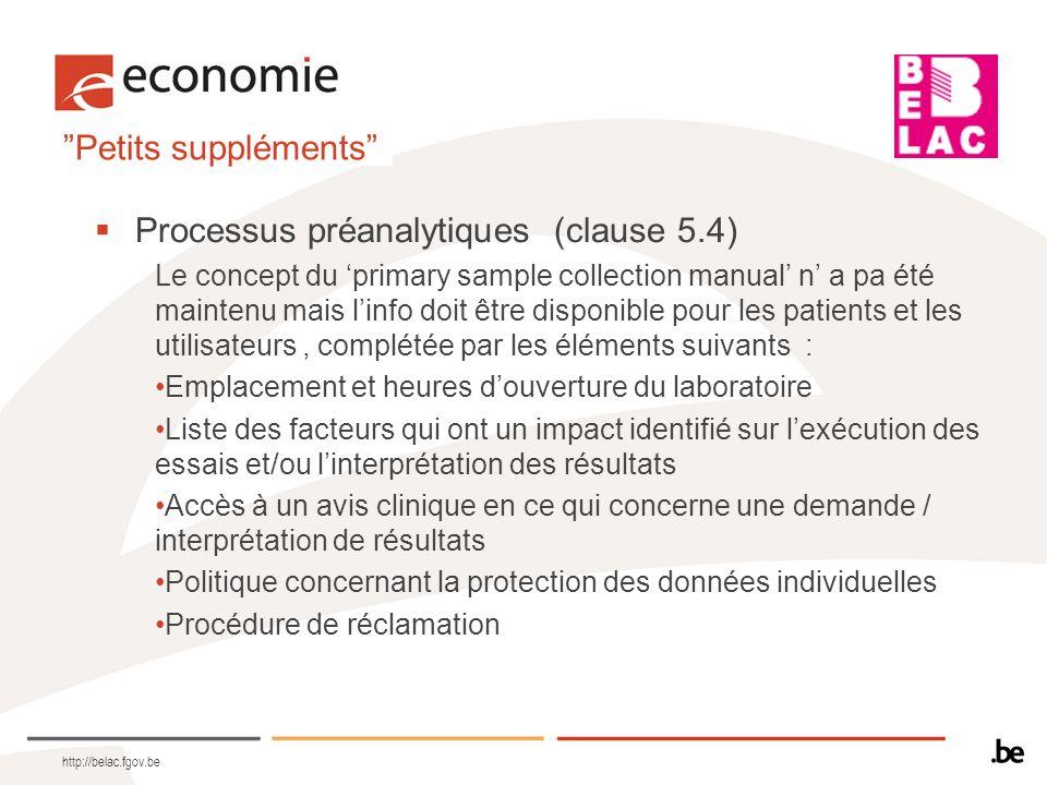 Processus préanalytiques (clause 5.4)