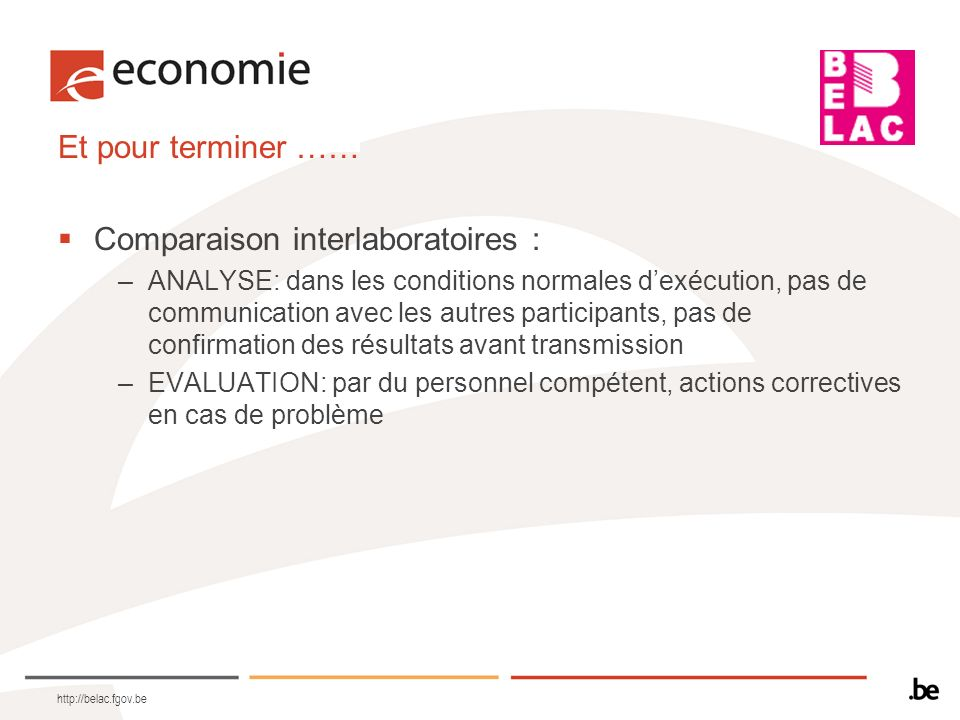Comparaison interlaboratoires :