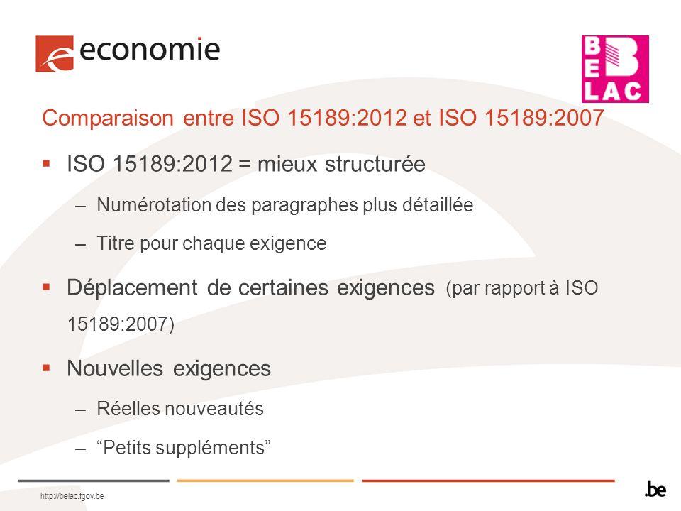 Comparaison entre ISO 15189:2012 et ISO 15189:2007