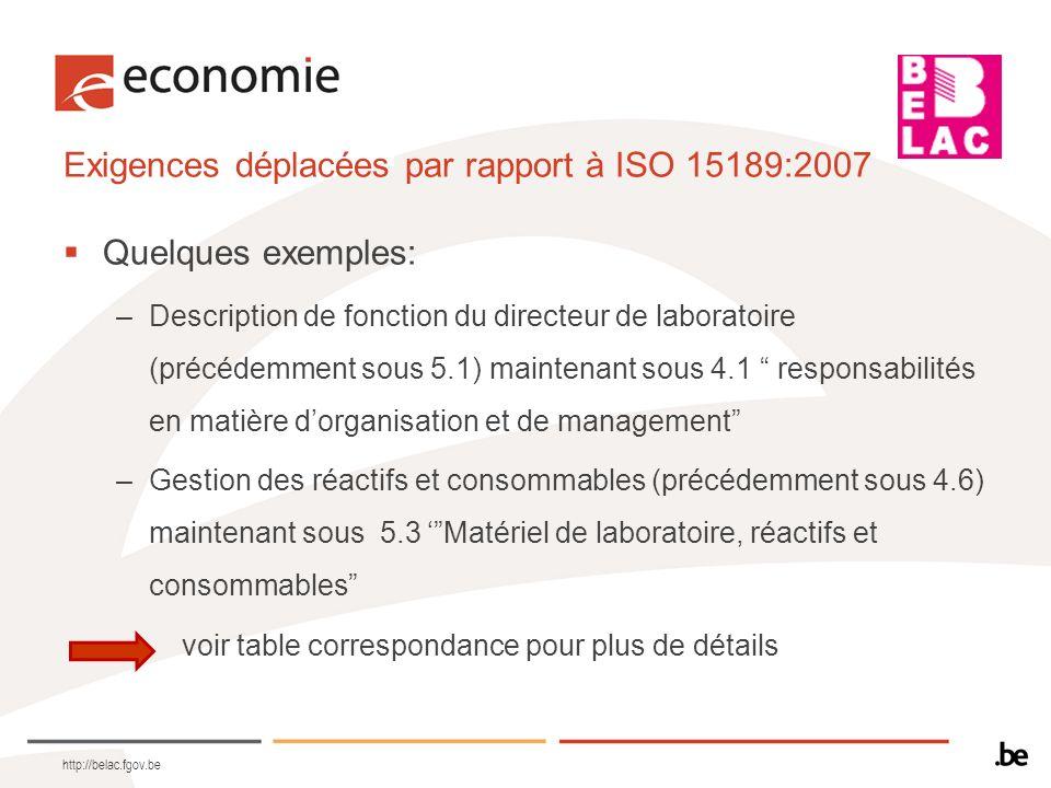Exigences déplacées par rapport à ISO 15189:2007