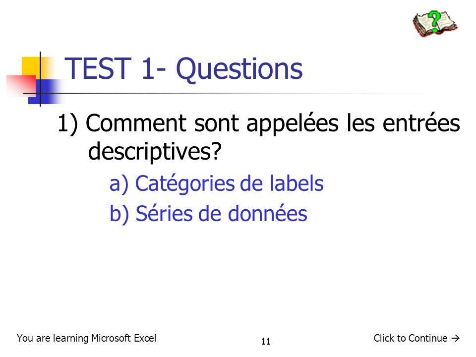 TEST 1- Questions 1) Comment sont appelées les entrées descriptives