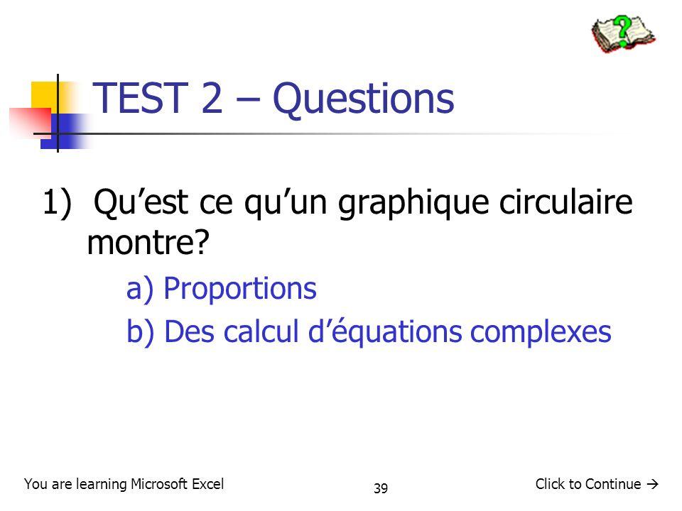 TEST 2 – Questions 1) Qu'est ce qu'un graphique circulaire montre