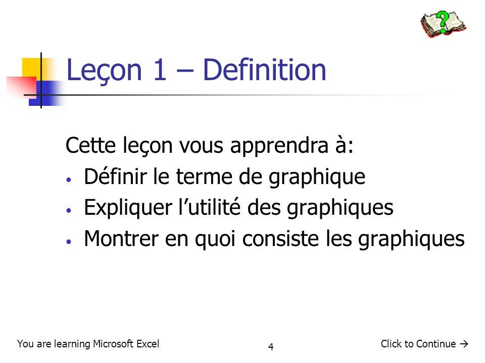 Leçon 1 – Definition Cette leçon vous apprendra à: