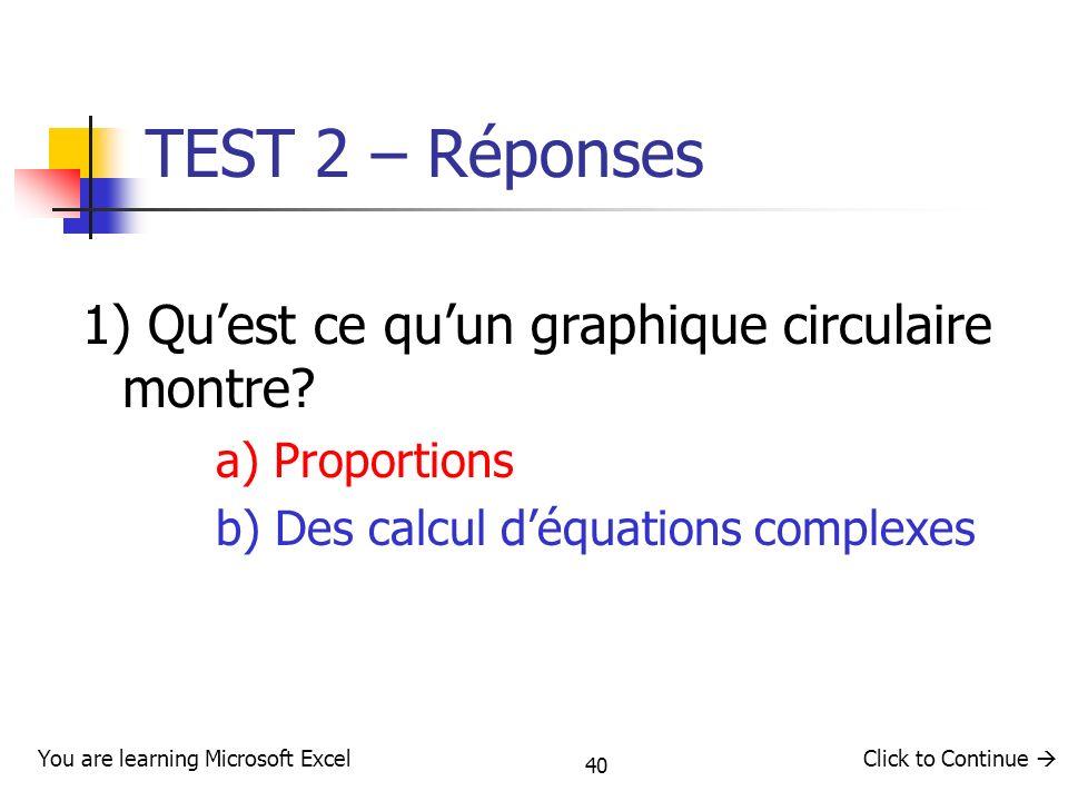 TEST 2 – Réponses 1) Qu'est ce qu'un graphique circulaire montre