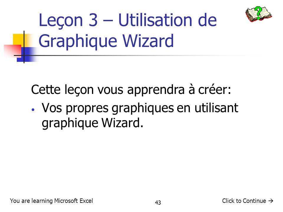 Leçon 3 – Utilisation de Graphique Wizard
