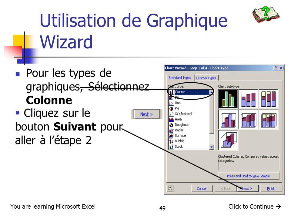 Utilisation de Graphique Wizard