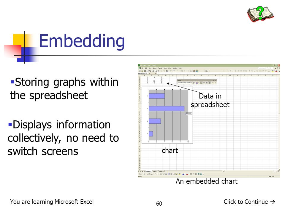 Embedding Storing graphs within the spreadsheet