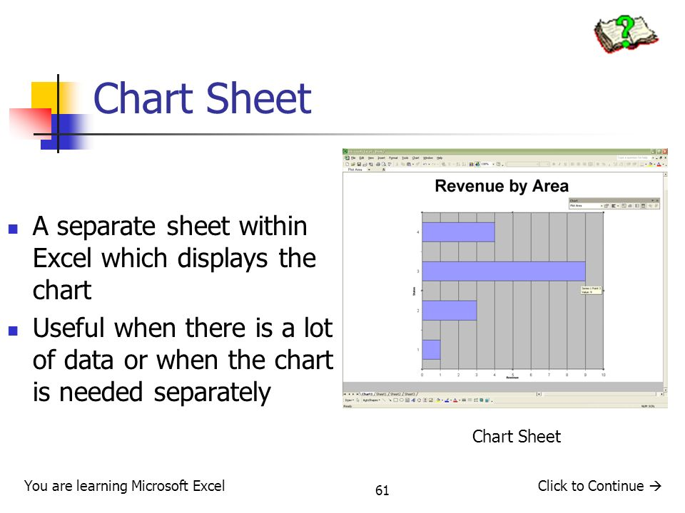 Chart Sheet A separate sheet within Excel which displays the chart