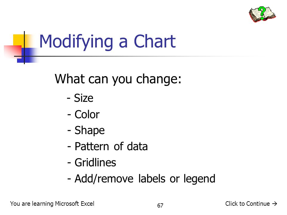 Modifying a Chart What can you change: - Size - Color - Shape