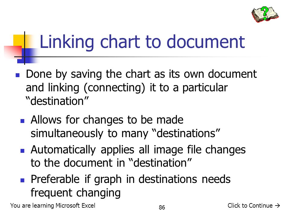 Linking chart to document