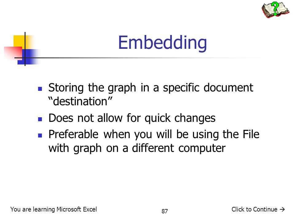 Embedding Storing the graph in a specific document destination