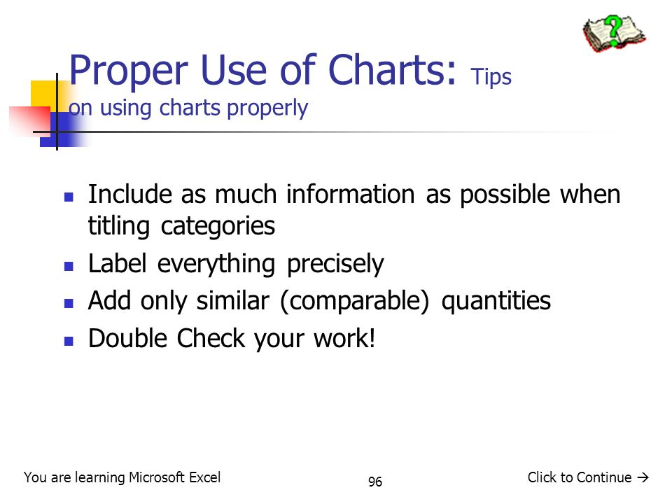 Proper Use of Charts: Tips on using charts properly