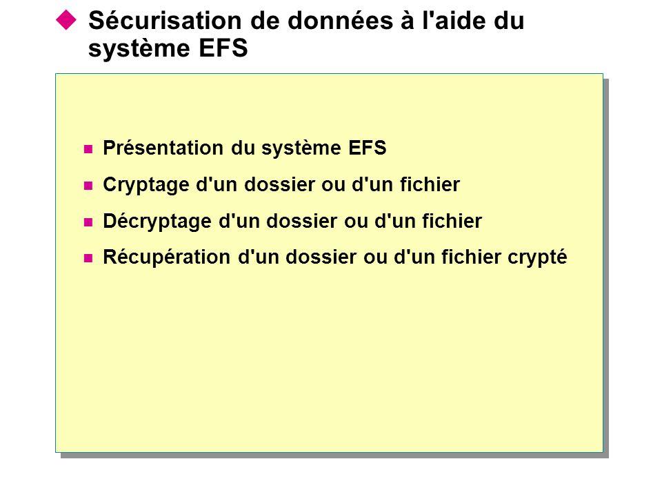 Sécurisation de données à l aide du système EFS