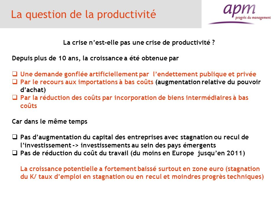 La question de la productivité