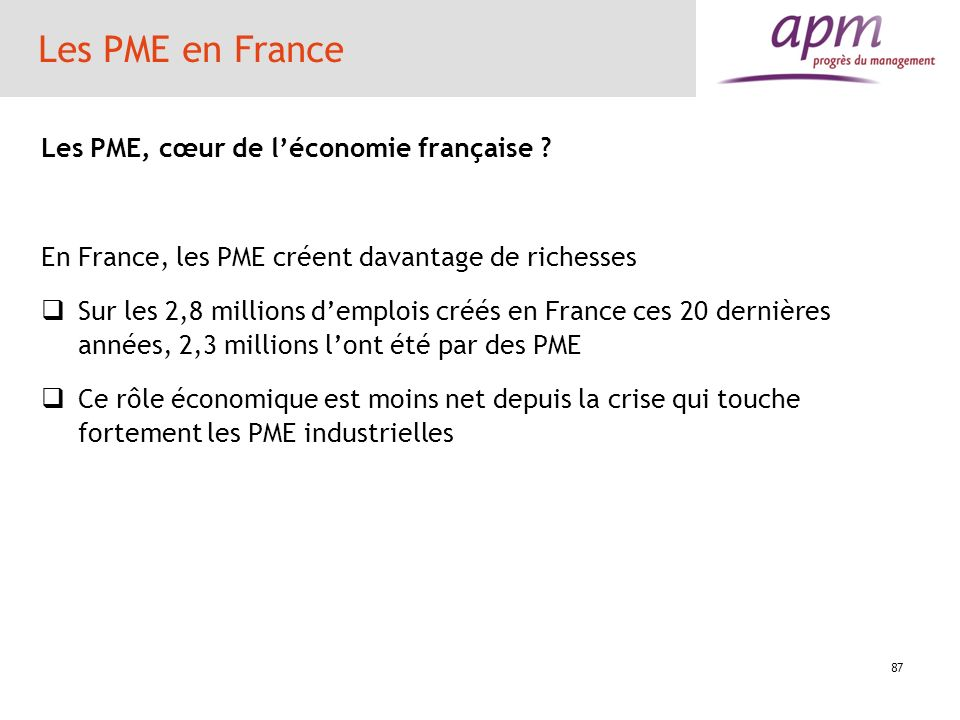 Les PME en France Les PME, cœur de l'économie française