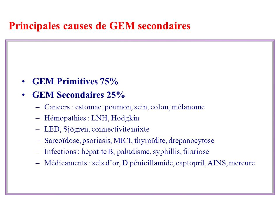 Principales causes de GEM secondaires