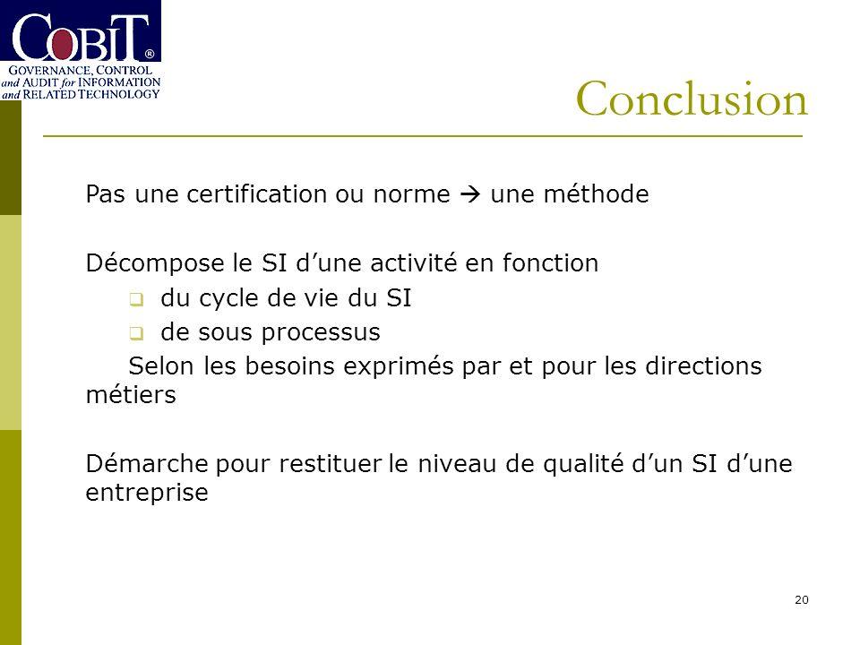 Conclusion Pas une certification ou norme  une méthode