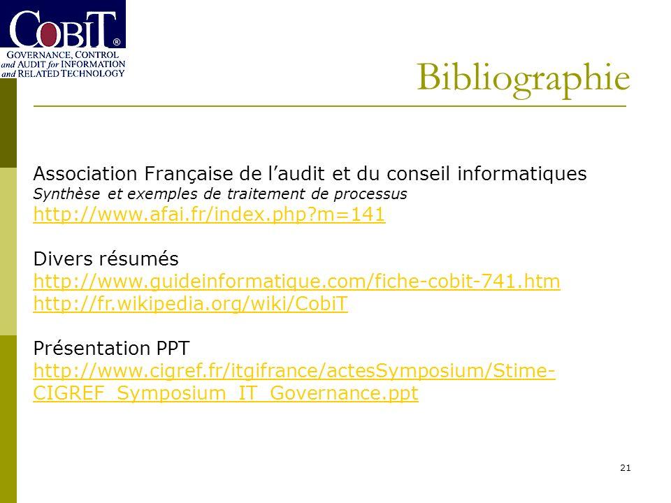 Bibliographie Association Française de l'audit et du conseil informatiques. Synthèse et exemples de traitement de processus.