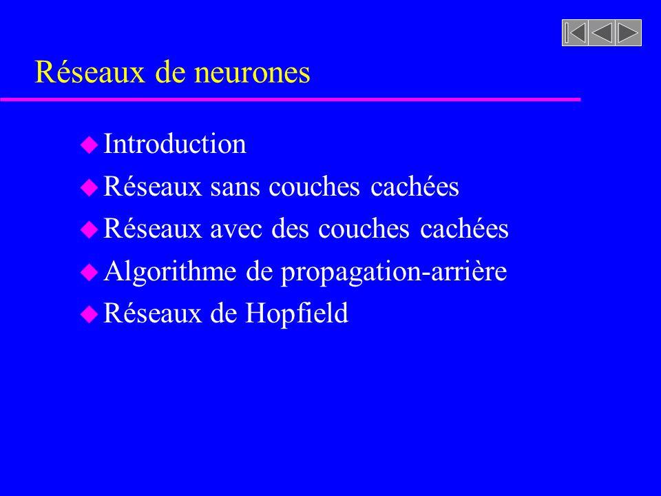 Réseaux de neurones Introduction Réseaux sans couches cachées