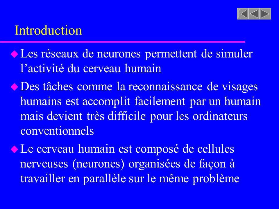 Introduction Les réseaux de neurones permettent de simuler l'activité du cerveau humain.