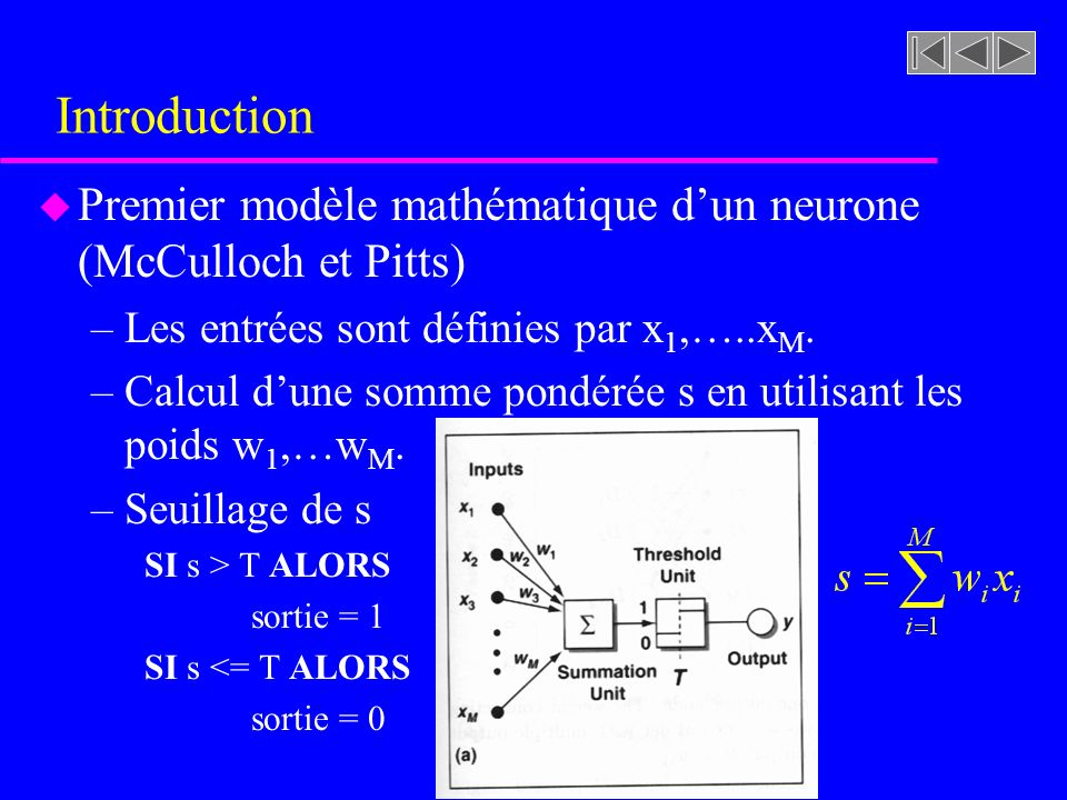 Introduction Premier modèle mathématique d'un neurone (McCulloch et Pitts) Les entrées sont définies par x1,…..xM.