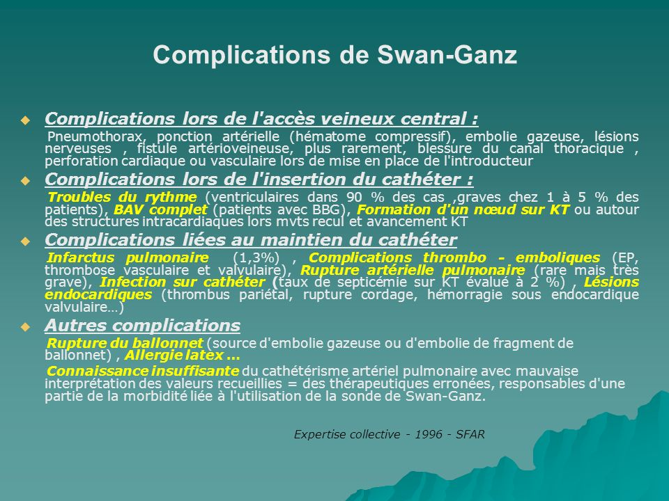 Complications de Swan-Ganz