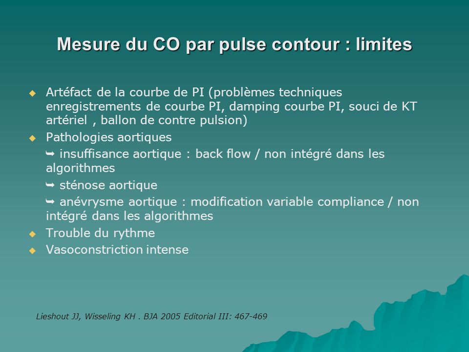 Mesure du CO par pulse contour : limites