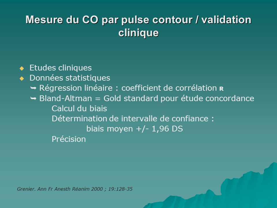 Mesure du CO par pulse contour / validation clinique