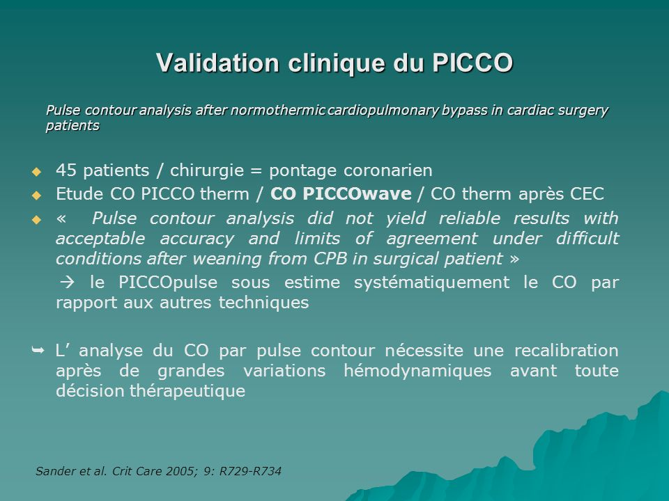 Validation clinique du PICCO