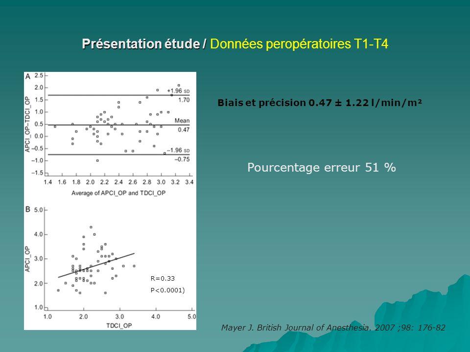 Présentation étude / Données peropératoires T1-T4