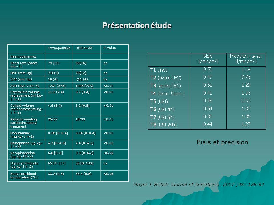 Présentation étude Biais et precision