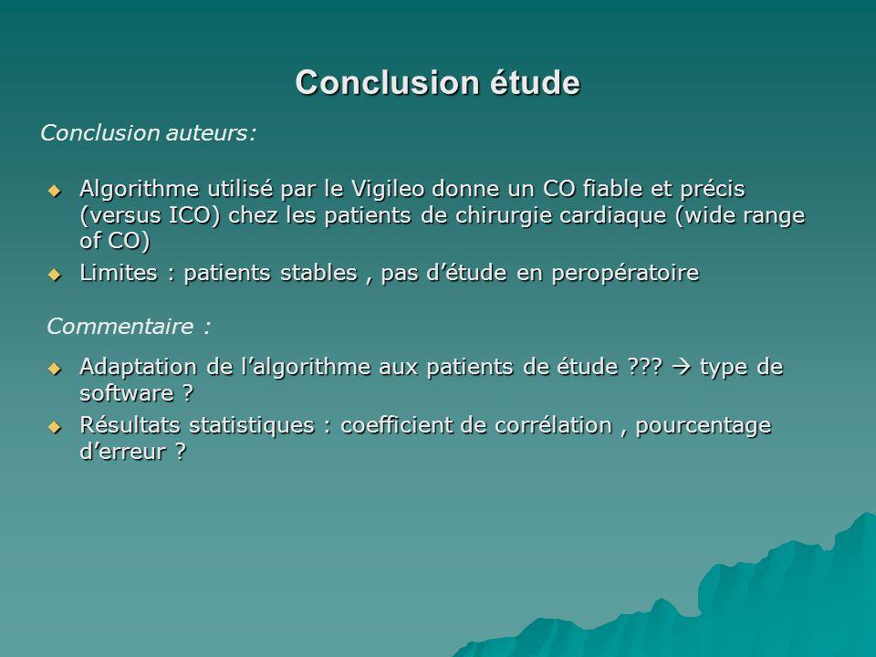 Conclusion étude Conclusion auteurs: