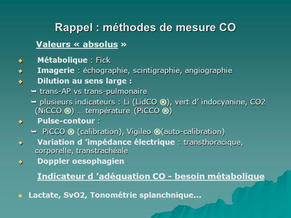 Rappel : méthodes de mesure CO