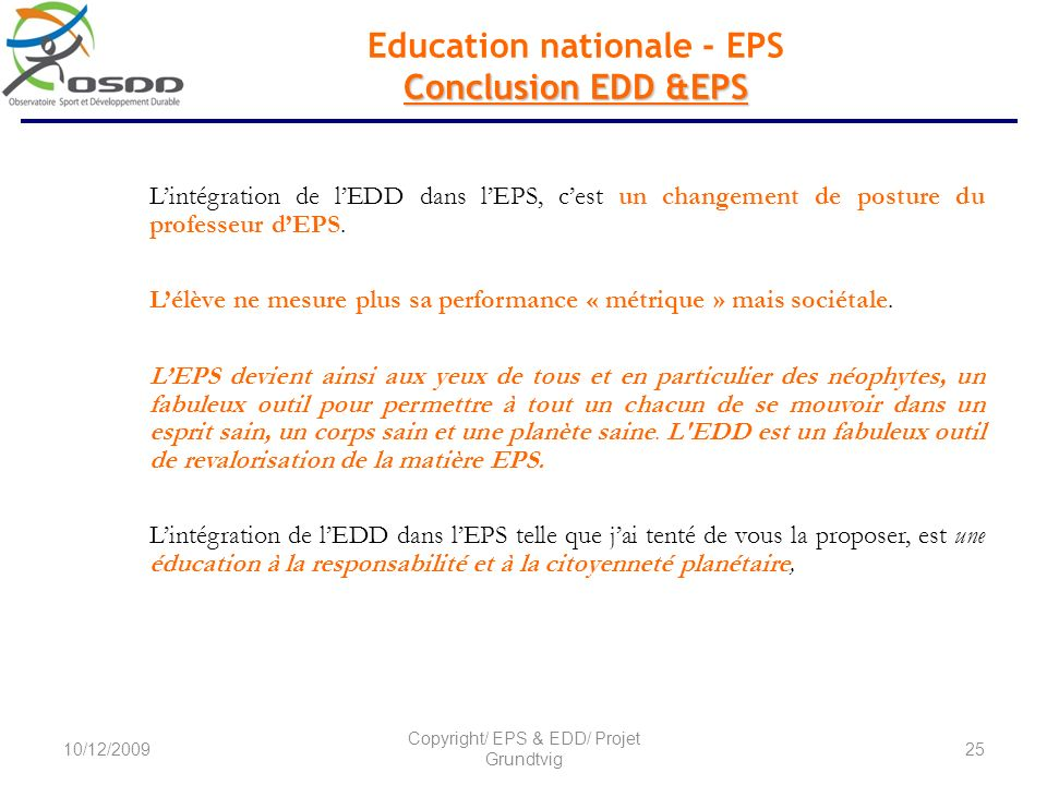 Education nationale - EPS Conclusion EDD &EPS