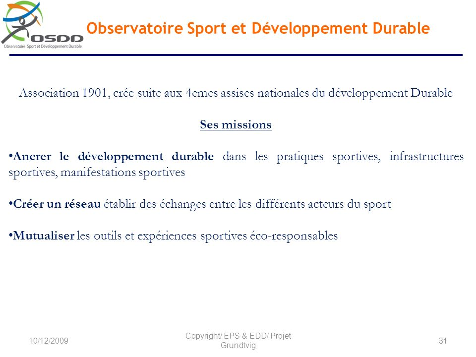 Observatoire Sport et Développement Durable