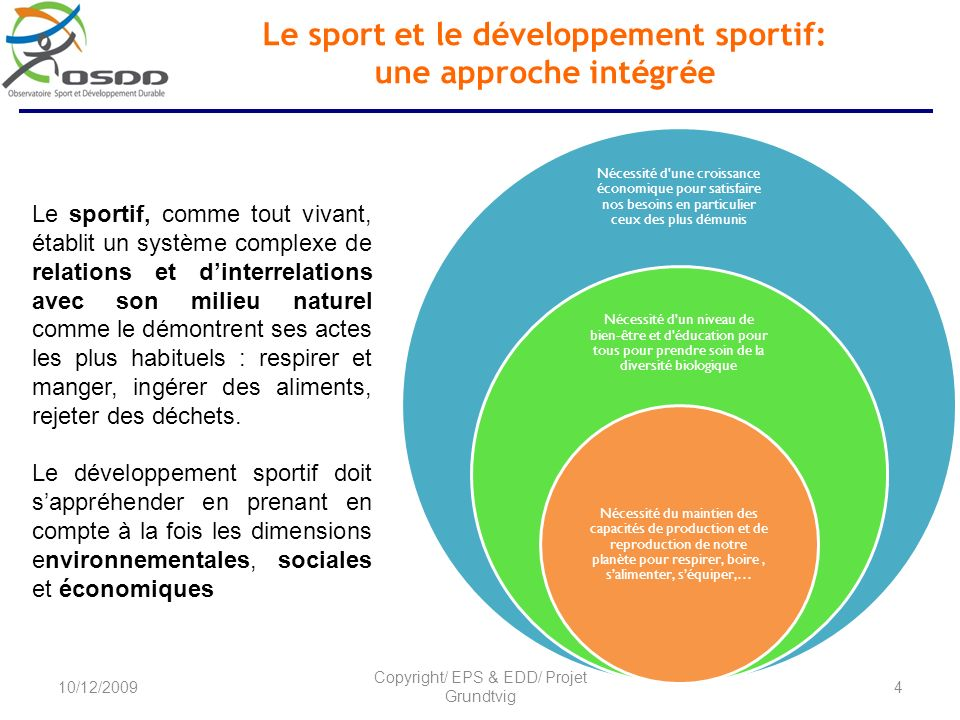 Le sport et le développement sportif: une approche intégrée