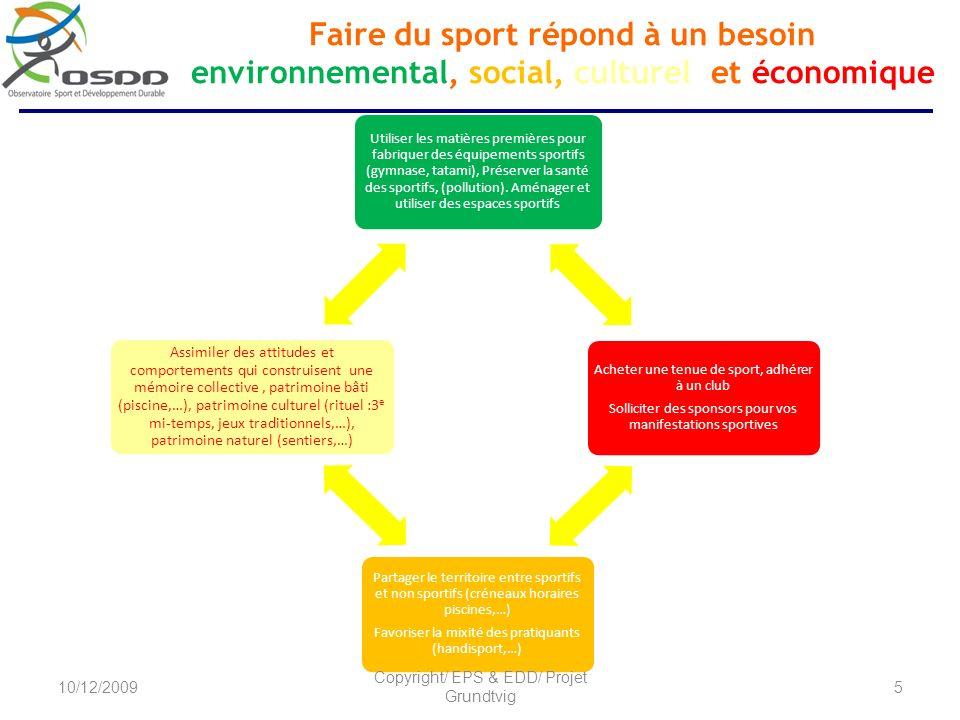 Faire du sport répond à un besoin environnemental, social, culturel et économique