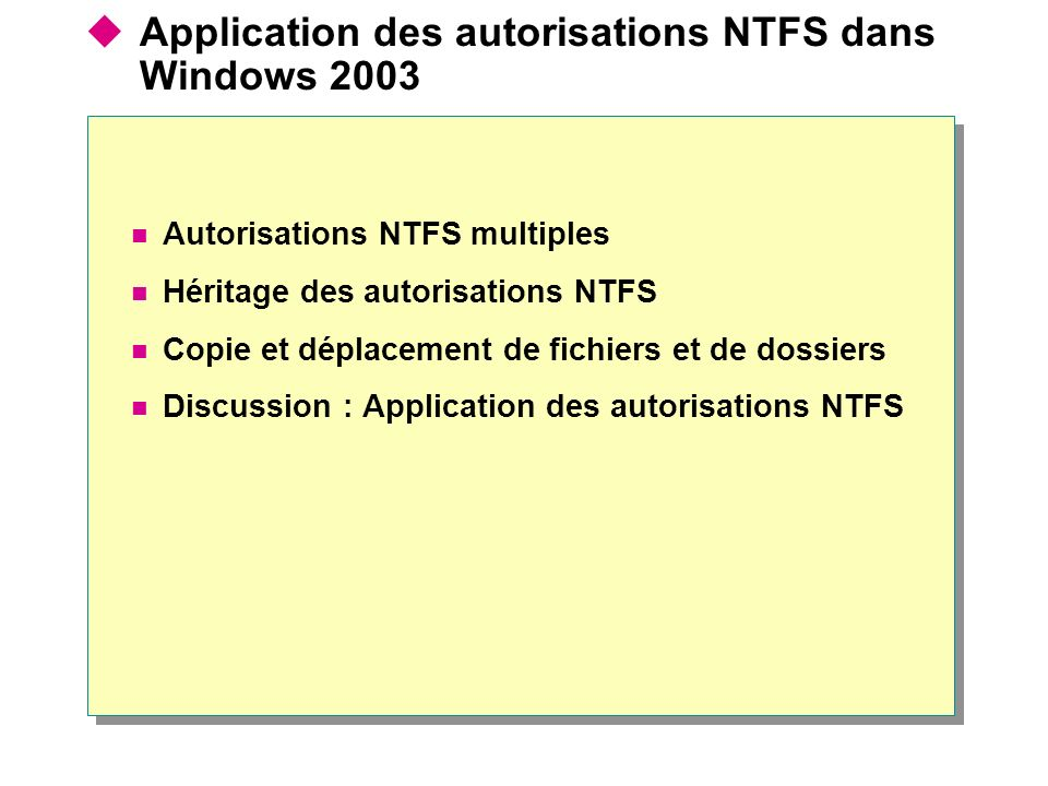 Application des autorisations NTFS dans Windows 2003