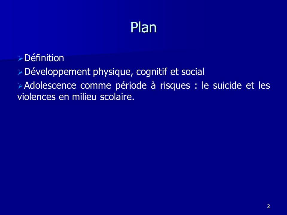 Plan Définition Développement physique, cognitif et social