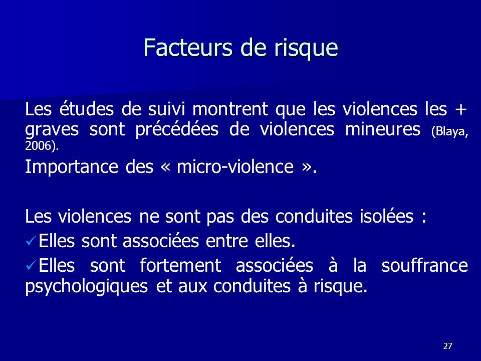Facteurs de risque Les études de suivi montrent que les violences les + graves sont précédées de violences mineures (Blaya, 2006).