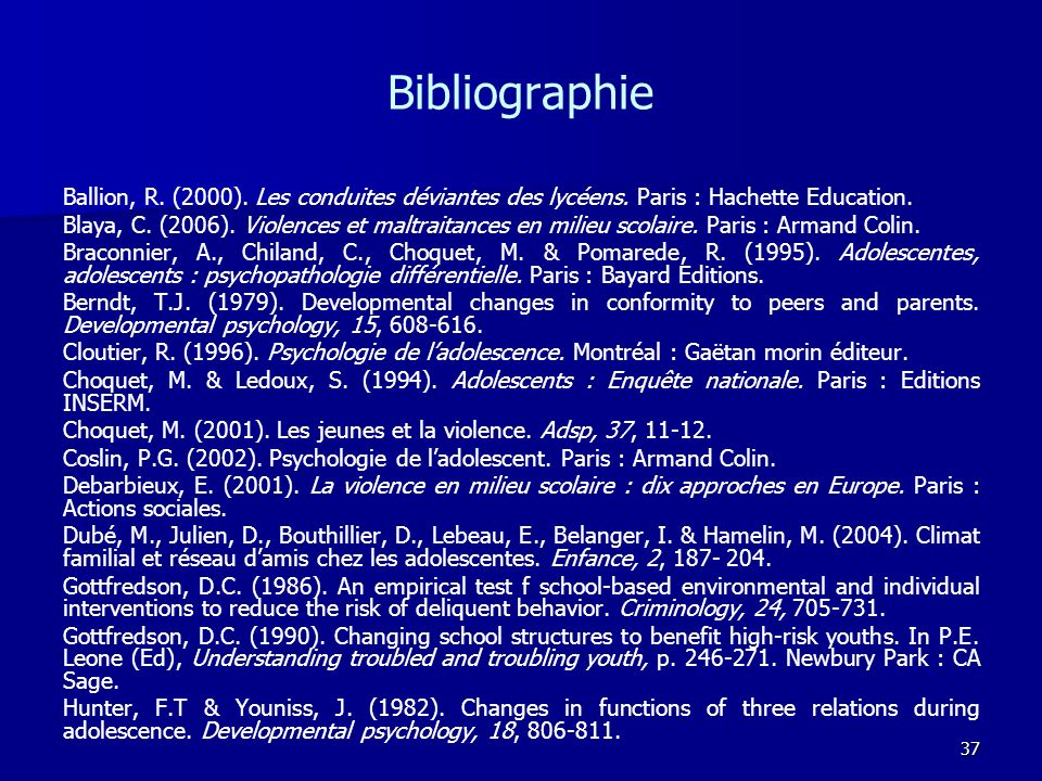 Bibliographie Ballion, R. (2000). Les conduites déviantes des lycéens. Paris : Hachette Education.