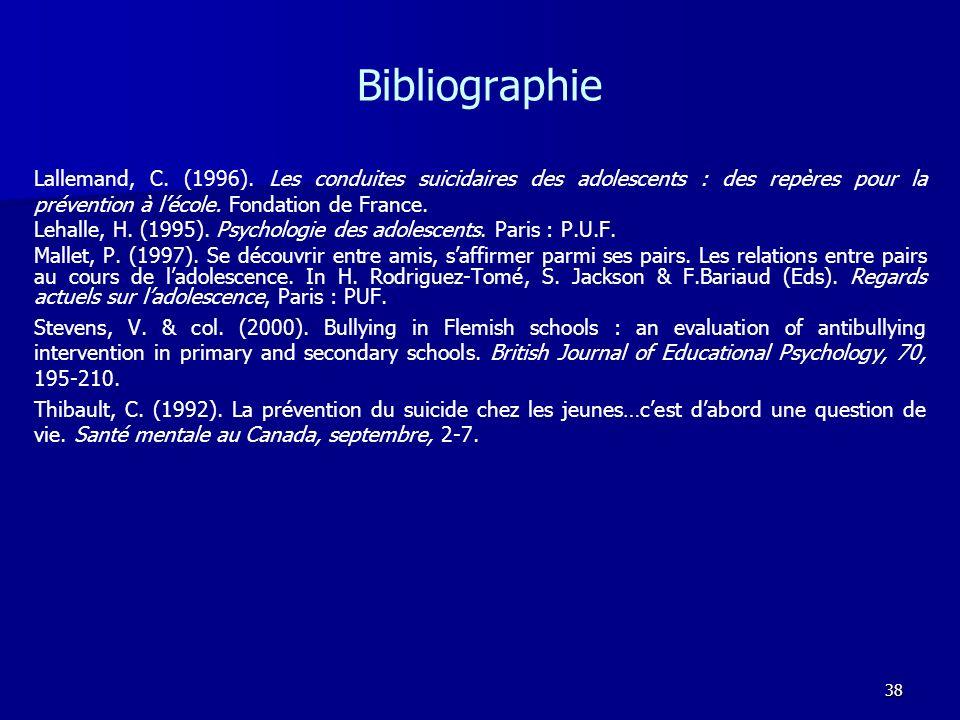 Bibliographie Lallemand, C. (1996). Les conduites suicidaires des adolescents : des repères pour la prévention à l'école. Fondation de France.