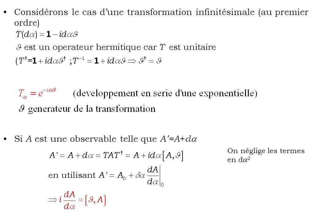 Si A est une observable telle que A'=A+da