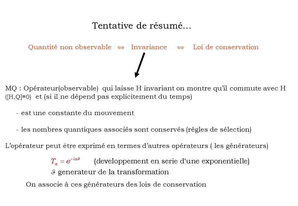 Tentative de résumé… Quantité non observable  Invariance 