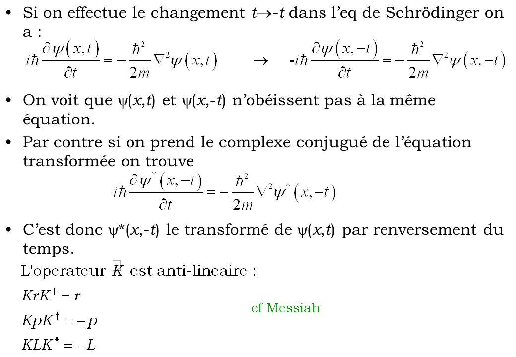 Si on effectue le changement t-t dans l'eq de Schrödinger on a :